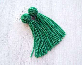 4 inches Green beaded tassel earrings - Statement Jewelry earrings - long dangle  earrings - fringe earrings - beadwork tassle earrings