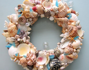 Nautical Decor Seashell Wreath, Beach Decor Shell Wreath, Coastal Wreath, Beach Home Decor, Coastal Home Decor, WITH SEAGLASS