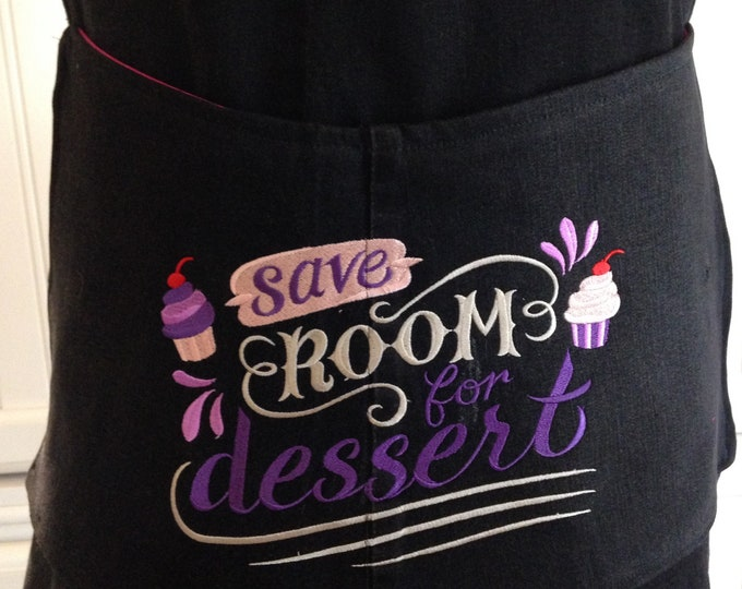 Women's full denim apron black denim apron no tie apron large pocket apron adjustable strap apron embroidered apron repurposed denim apron