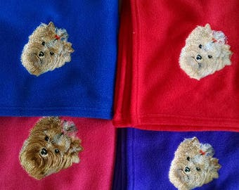 Personalised Embroidered Yorkshire Terrier, Yorkie Fleece Blankets