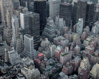Top City View, Aerial View of the Financial District of Manhattan Island as Seen from the Empire State Building in NYC