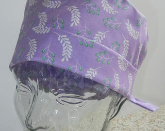 Tie Back Surgical Scrub Hat in Branches Lavender