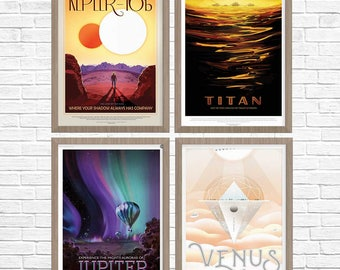 SPACE Posters, Space Travel, Exoplanet, Nasa Poster Set, Nasa JPL, Nasa Mars, Mars Travel, Set of 4, NASA Space Travel Poster, Nasa Poster