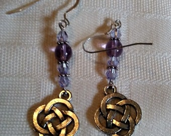 Lilacs shades and Sterling silver pierced earrings with open Celtic knot charms.