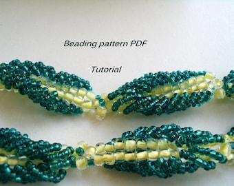 Beaded necklace - Aquamarine. Beading Tutorial. Beading pattern PDF. Instant download.
