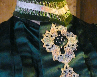 antique French victorian green satin bodice
