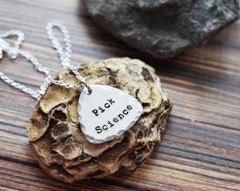 Pick Science Pendant- Aluminum Stamped Science Geek Necklace - Science Guitar Pick Pendant Necklace Jewelry- Graduation Gift