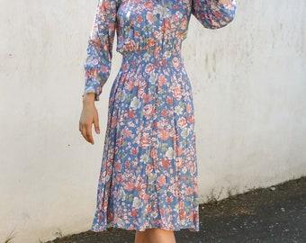 Vintage 80s Pastel Floral Dress