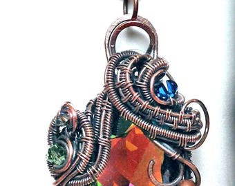 Raindrops on Roses - Wirewrap, wireweave with weave tutorial