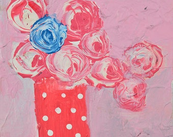 Pink & Blue Roses Flower Painting Print. Shabby Floral Art Digital Print. Cottage Chic Decor. 95