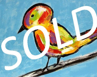 SOLD------------------Colorful Bird, Original Painting, Whimsical Bird, Art, Bird Painting, Bird Art, Winjimir, Home Decor, Wall Art, Gift,