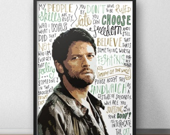 Castiel print / poster hand drawn typography quotes supernatural cas print / poster