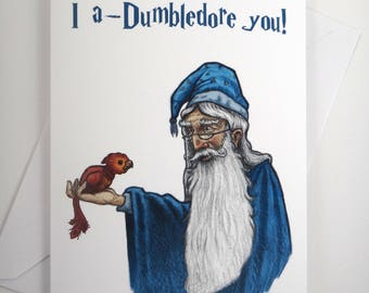 Dumbledore Greeting Card, Harry Potter Valentine Card, Valentine's Day Card, Valentine Card, Greeting Card, Harry Potter Card