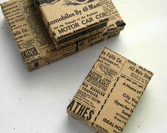 10 Kraft Jewelry Boxes Vintage Newspaper Cotton Filled 3 1/8 x 2 1/4 x 1 inch