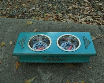 Raised Dog Bowl Feeder, Elevated Feeder for Small Dogs, Pet Bowls, Dog Bowls, Dog Food, Cat Feeder, 2 One Pint Stainless Bowls Made to Order