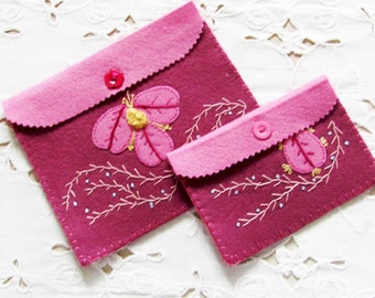 wool felt sewing organizer, accessory for traveler, jewelry keeper, gift for sewer