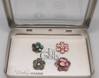 Vintage Magnetic Wine Charms: Flowers Set of 4