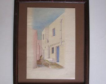 watercolor painting, Patmos, Greece