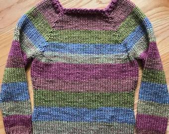 Women's Small Hand-knit Raglan Sweater