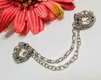Rhinestone Sweater Clip, Rhinestone Cardigan Clip, Collar Clip, Sweater Clip, Sweater Guard, Sweater Closure, Sweater Clasp