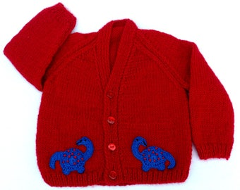 Hand knitted baby clothes, red dinosaur baby cardigan to fit 6 to 12 months Baby clothes, baby gift, baby shower, baby boy