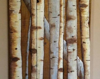 Birch Trees on Reclaimed Wood, Pine Pallet Acrylic Painting, Incorporated Knots, White on Brown, Realistic Nature Themed Customized Wall Art