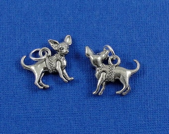Chihuahua Charm - Silver Plated Chihuahua Dog Charm for Necklace or Bracelet