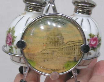 Vintage Salt & Pepper Shakers in Holder Souvenir of Washington DC with Capitol Building