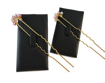Pink and Purple Pearl Hair Pins for Prom, Long Hair Updo Accessories Gold or Silver, Swarovski Pearl Bridal Hair Pin Set Pearl Accessory