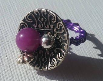 Purple Metal Button Ring