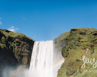 Skogafoss Fine Art Photograph, Landscape Photography, Skogafoss Waterfall Print - Falling