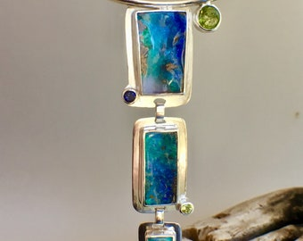 16 Inch Artisan Handmade Australian Boulder Opal,  Iolite & Peridot Sterling Silver Pendant/Necklace