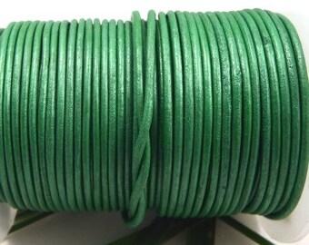 Olive green metallic 0.5 m 2mm leather cord