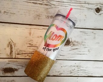 Mom of the year, Mother's day gift, water tumbler, mothers day, glittered water tumbler