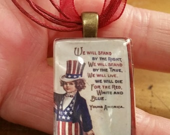 Red White and Blue Patriotic Hat or Americana Boy- American -Glass Necklace w/ Organza Ribbon Cord