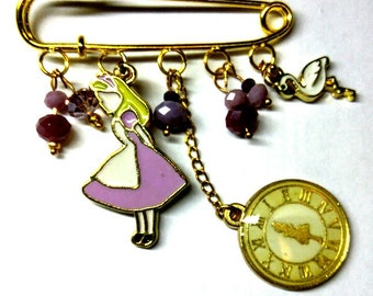 Alice in Wonderland lavender pin Alice brooch Wonderland jewelry Alice jewelry Alice lover gift Cute pin Tea time Alice pin Wonderland pin
