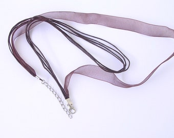 20 Brown Organza Ribbon Waxed Cotton 16-18 Inch Adjustable Necklace Cords Jewellery Making