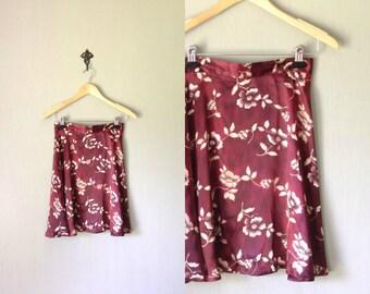Vintage SATIN Skirt •1990s Clothing • Modern Grunge Bias Cut High Waist Mini Tab Skirt Burgundy Red Floral Print 90s Casual •Small Medium