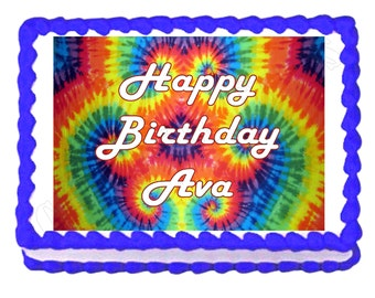 Tie Dye Hippie 60's 70's party edible cake image cake topper frosting sheet