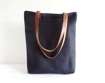 Natural linen tote bag, Black natural linen large tote bag with caramel brown real leather handles and cotton lining, Offie work bag