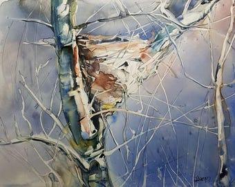 Bird House, Bird Painting, Bird House Wall Art, Bird Nest Art, Nest Painting, Nest Art