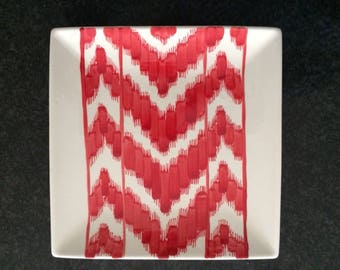 Red Ikat Serving Dish