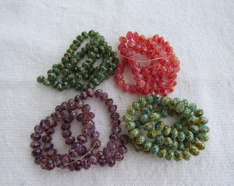 1 Strand Spray Painted Mottled Faceted Glass Rondelle Beads 8mm (B240a)