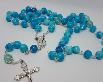 rosary silver blue glass beads crucifix catholic religious gift meditation bright baptism unusual unique holly communion chain mixed