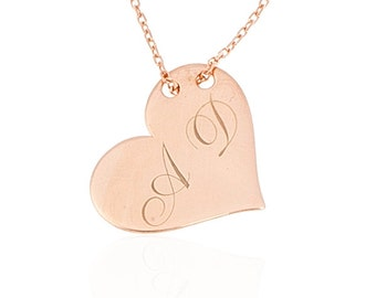 Personalized Heart Name plate Necklace, 14k Gold Fill Bar Necklace, Silver, Gold, Rose Gold initial letters hear plate,