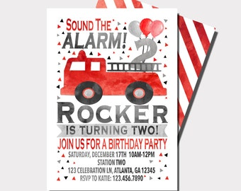 Firetruck Birthday Invitation | Fireman Birthday Invitation | Sound The Alarm | Truck Birthday Invitation