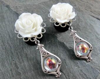 "Victorian Dangle Plugs - 9/16"" 14mm - Crystal Gem - Wedding Gauges - Dangle Gauges - Rose Plugs - Bridal Plug Earrings"
