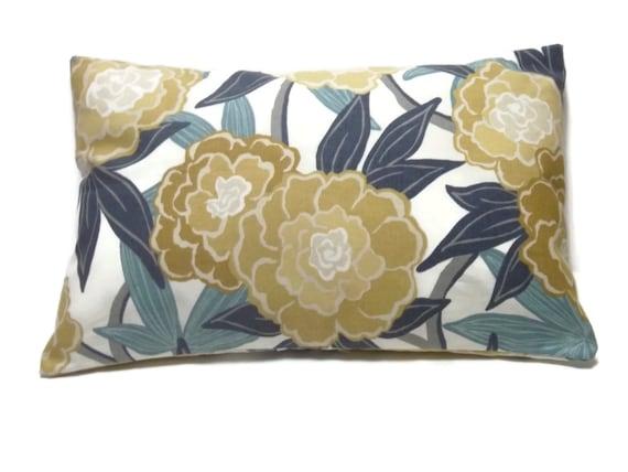 Decorative Lumbar Pillow Cover Bold Modern Floral Teal Navy