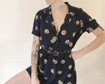 Daisy Floral Button Up Short Sleeve Dress