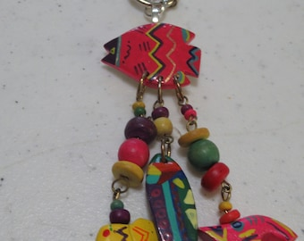 Vintage wood fiesta purse charm, key chain, Fish key chain, purse charm, elephant purse charm, colorful key chain or purse charm